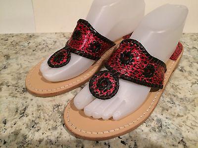 Jack Rogers Navajo Sandals Flat Leather Flip Flop Leopard Red Black 7-7.5 M New