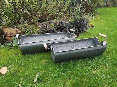 4X Heart Trough Vintage Grey Zinc Galvanised Metal Garden Planter Flower Pot/Tub