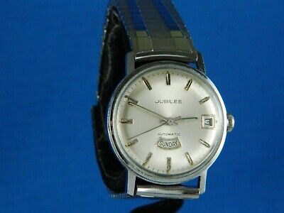 VINTAGE JUBILEE LONGINES 25J AUTO DAY-DATE STAINLESS MENS WATCH SERVICED 1960s