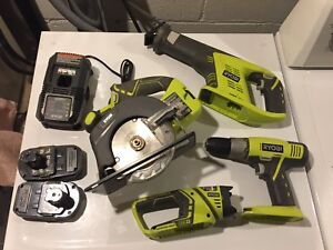 Ryobi Power Tools + charger + batteries