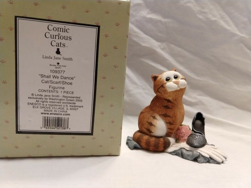 VTG HTF Border Fine Art 109377 Comic Curious Cat Shall We Dance Figurine;NIB