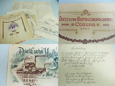 Konvolut Dokumente zur DIETZ'SCHEN HOFBUCHDRUCKEREI (Coburg), Handschriften u.a.
