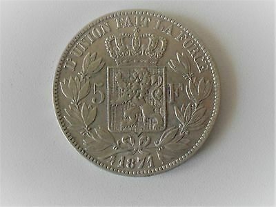 5 Francs argent, zilver Leopold II 1871