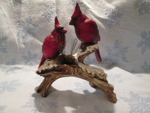 Cardinals on Glittery Snowy Log Resin Figurine Birds