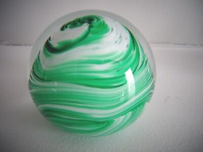 1993 Gibson Art Glass Green White SPIRAL Paperweight