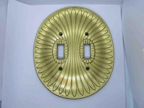 Vintage Sunburst Double Brass Oval Switch Plate