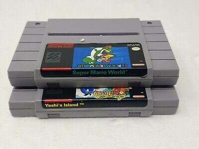 Super Mario World 1 and 2 Yoshi's Island SNES Authentic Lot