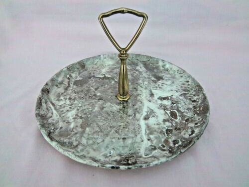 Silver Color Glass SERVING Desert TRAY Metal Handle Hors d