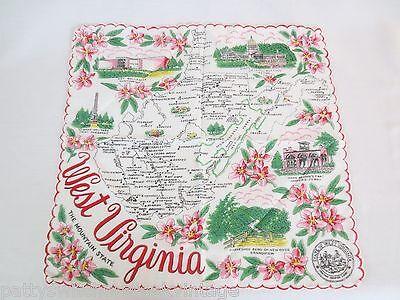 Vintage State Of WEST VIRGINIA Souvenir Advertising Cotton Handkerchief