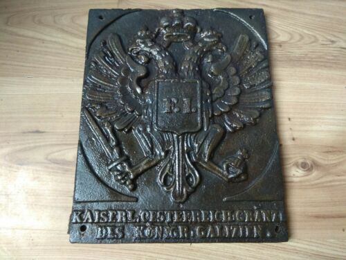 Austro - Hungary border post metal sign plaque Iron coat of arms