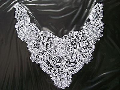 """4.5/""""x4.75/"""" White Venice Lace Motif Applique Patch Cup Doily Coaster"""