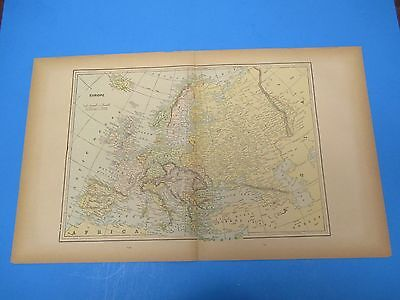 """1893 Popular Atlas Map 2 Page, Europe Nice Color,Suitable To Frame 13 1/2"""" X 22"""""""