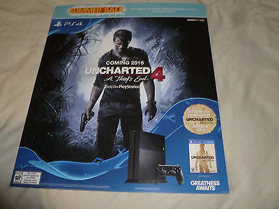 Promo Store Display Sign Ps4 Uncharted 4 A Thiefs End Playstation 2016