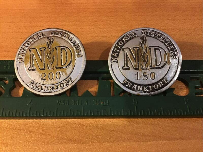 Two Vintage National Distillers Employee ID Badges, Frankfort Kentucky Plant
