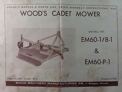 Woods Cadet 3 Point Hitch Rotary Mower Em60 18-1 Em60-p-1 Owner Parts Manual