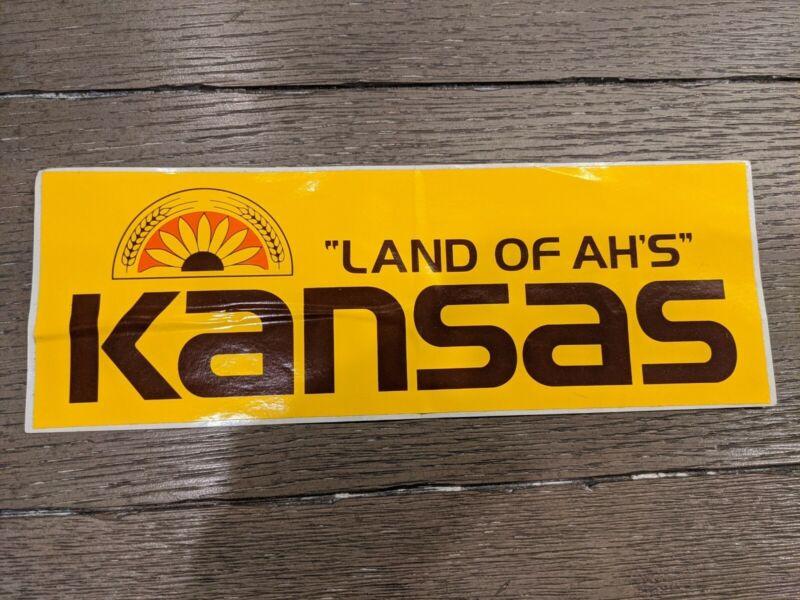 Vintage Kansas Bumper Sticker Land Of Ah