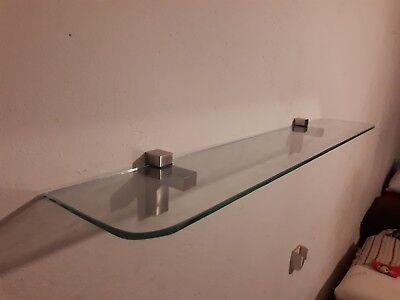 Glass Floating Shelf kit  Clear 35 in x 6 in Clear Glass Shelf Kit