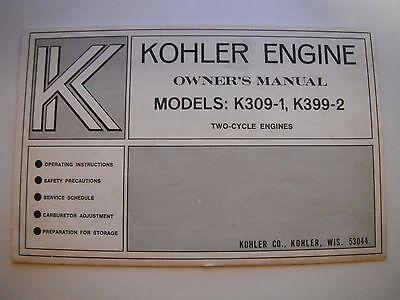 Vintage Kohler 309-1, 399-2 Snowmobile Engine Owners Manual