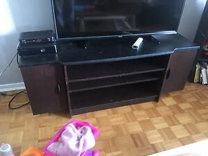 Tv stand with flat screen mount attached
