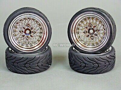 RC Car 1/10 WHEELS Tires SEMI-SLICK 3MM Offset CHROME DISH LIP   -SET OF 4-