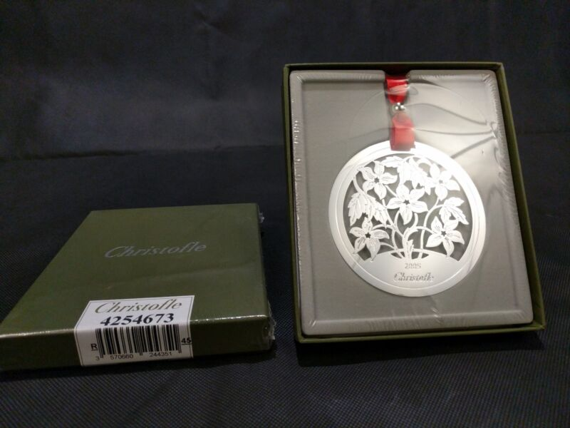 Christofle Rose Holiday Ornament 2005 - New in Sealed Box