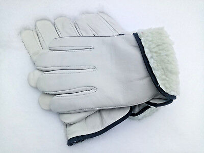 2 Pairs Mens Work Gloves Size Lg Fleece Lined Heavy Insulation Winter Leather