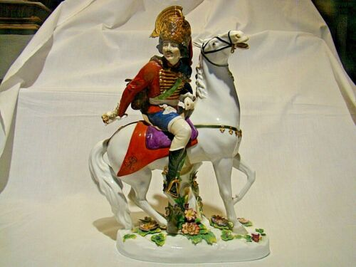 "Large Volkstedt Porcelain Figurine Napoleonic Wars Calvary Officer 13 1/2"" h."