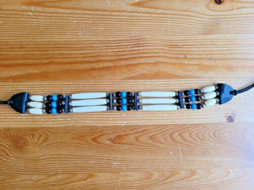 3 Line Buffalo Bone Choker Blue Beaded Stone Tribal Native American Necklace