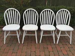 Beautiful  set of 4 round back spindle chairs white! Watsonia Banyule Area Preview