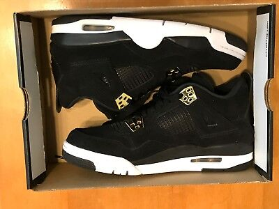 Nike Air Jordan 4 Retro Bg Royalty Black Gold 408452 032 Youth Size 7Y No Boxtop