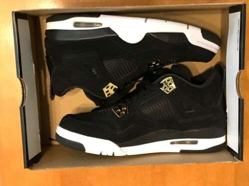 Nike Air Jordan 4 Retro BG Royalty Black Gold 408452 032 Youth Size 7Y NO BOXTOP