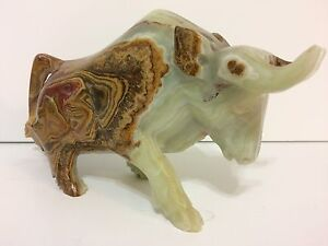 HAND CARVED MARBLE BULL STATUE