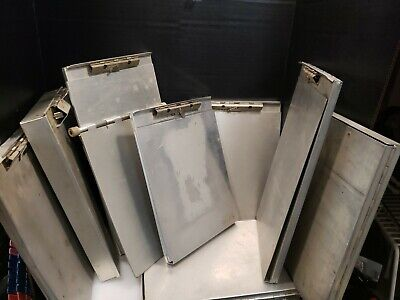 9 Vintage Aluminum Metal Clipboard Folders Used As Pictured Mixed Lot Assorted