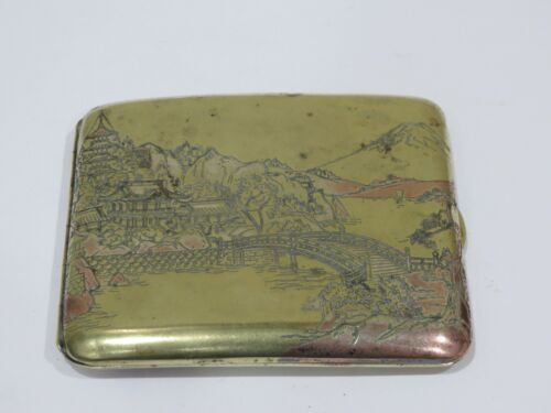 Antique Japanese Sterling Silver Cigarette Case w/ Mt. Fuji, Garden & Buddha