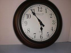 Sterling & Nobel Cherry No9 Wood Round Frame Wall Clock Quartz Movement  11.5