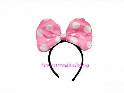MINNIE MOUSE BOW HEADBAND PINK POLKA DOTS LIGHT UP EARS PARTY FAVORS COSTUME NEW](Minnie Mouse Bow Light Up)