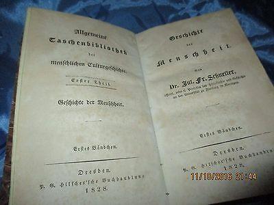 Antik Buch 1828 :  Geschichte der Menschheit , 1. + 2. Band in Einem , selten
