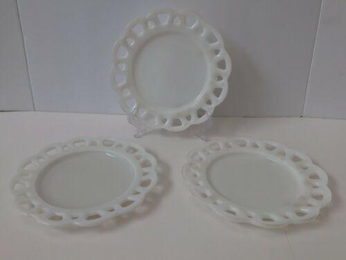 Vintage Milk Glass Salad Plates with Beautiful Scalloped Lattice Edge ~ Set of 3