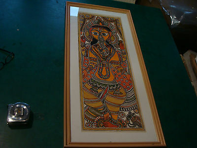 ORIGINAL watercolor of Indain Elephant God GANESHA: Signed P. K. JHP ??? & frame