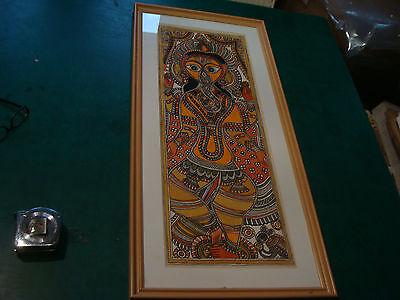ORIGINAL watercolor of Indain Elephant God GANESHA: Signed P. K. JHP ??? & frame