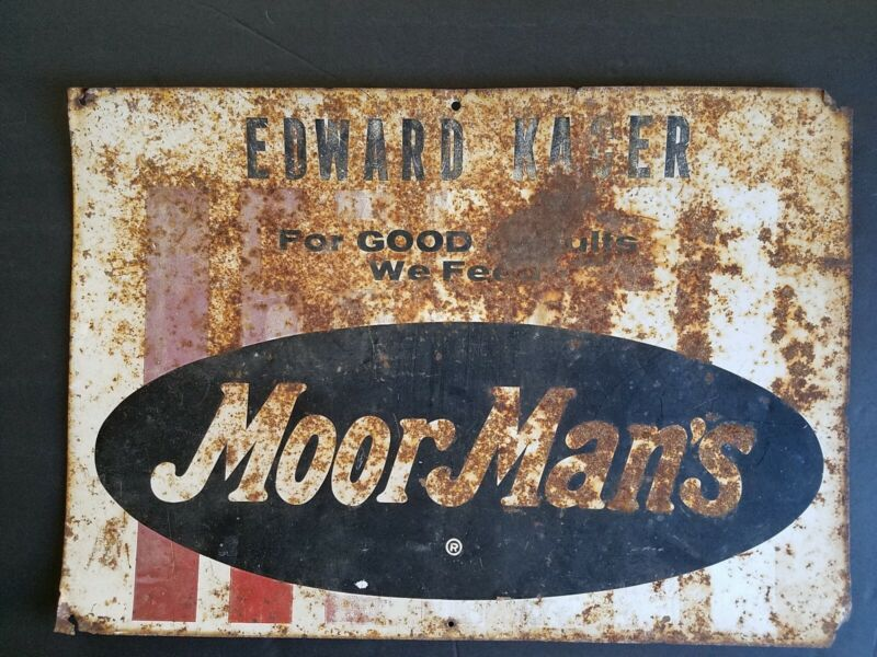 "MoorMans Moor Mans Metal Sign 20"" x 14"" Edward Kacer Used on Feed Store Nevada"