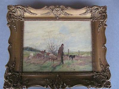 Altes  Ölbild Gemälde Schafe Schäfer auf der Weide