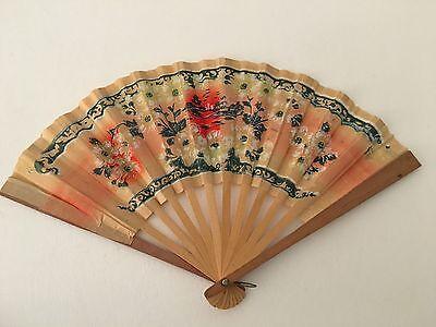 Antique Vintage Japanese Wood & Paper Hand Held Fan Floral Design