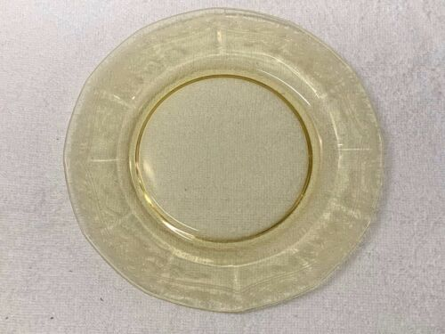 """FOSTORIA GLASS  """"JUNE""""   ETCHED LUNCHEON PLATES, TOPAZ-YELLOW  (6)"""