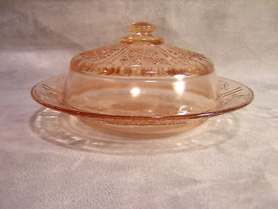 Federal Glass Sharon Pink Butter Dish And Cover