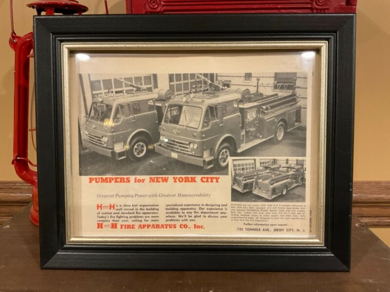 Vintage Framed H and H Fire Apparatus Advertisement - FDNY