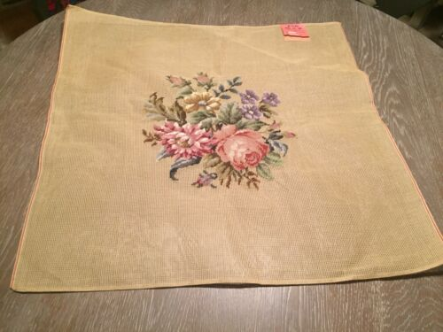 VTG Bucilla Needlepoint Antique Canvas Floral Preworked Chair Covers Lot Of 7
