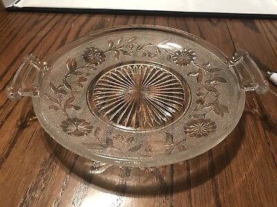 """Vintage """"Floral"""" Crystal Closed Handled Tray"""