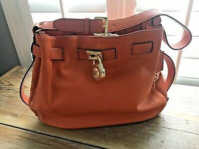 Michael Kors Bright Orange Gold Lock Key Leather Handbag Purse Magnetic Close