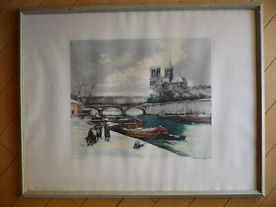 CHARLES MOUDIN, SIGNED HAND COLORED PRINT PARIS SEINE RIVER WINTER LANDSCAPE